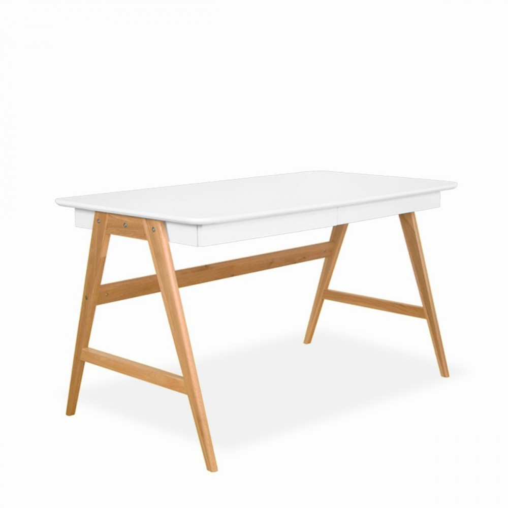 Bureau laqu ch ne blanc 120x70cm skoll look scandinave for Table scandinave blanc et bois