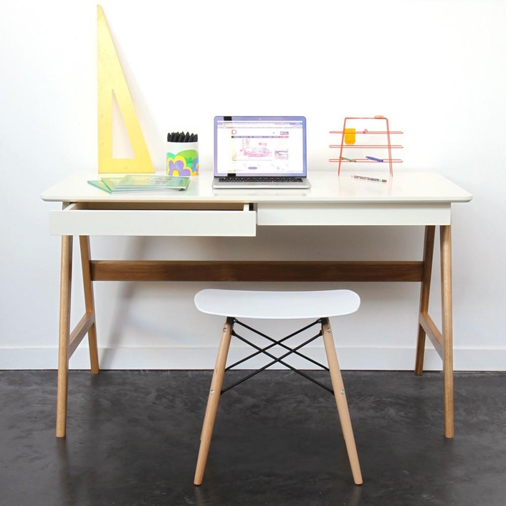 Bureau laqu ch ne blanc 120x70cm skoll look scandinave - Bureau style scandinave ...
