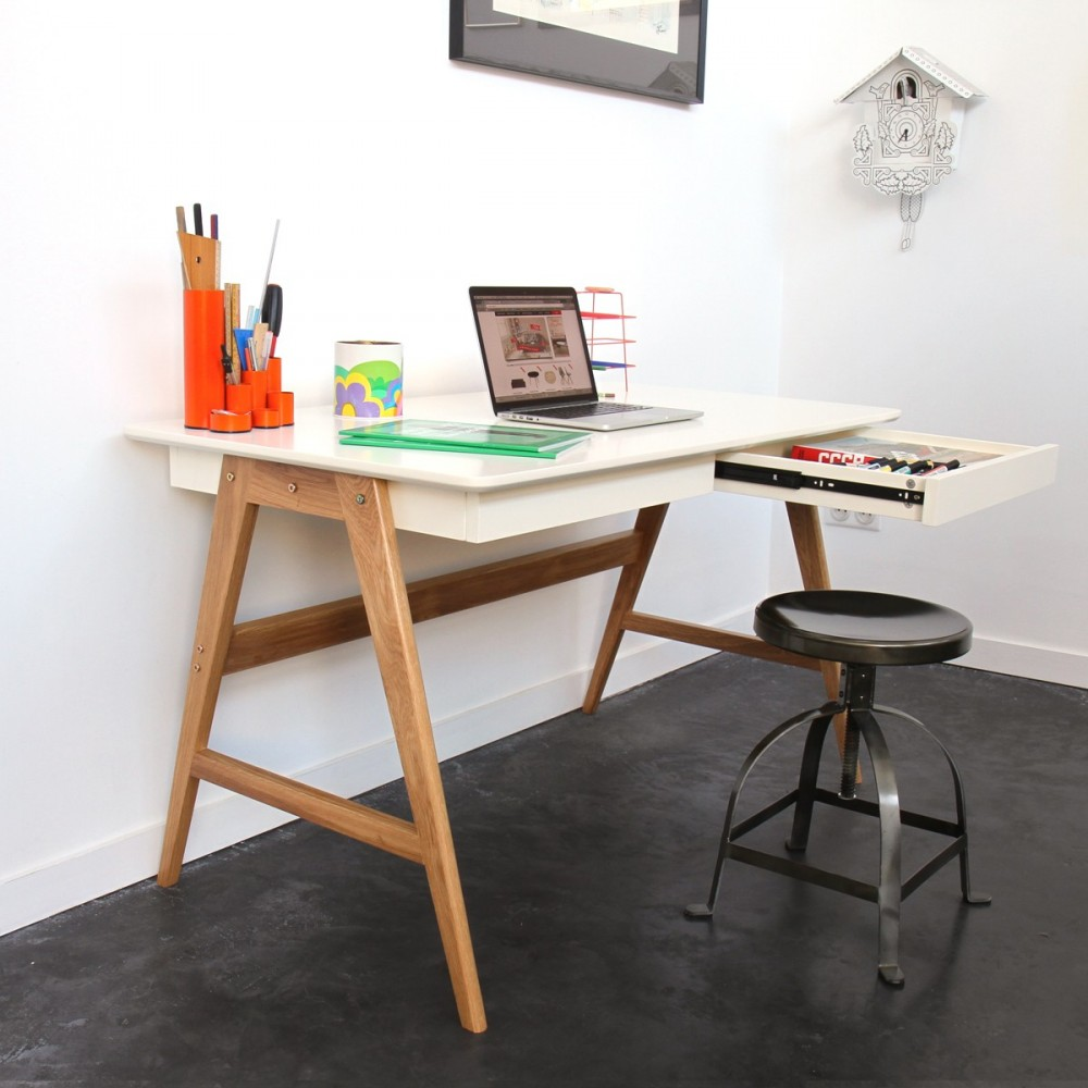 bureau laqu ch ne blanc 120x70cm skoll look scandinave. Black Bedroom Furniture Sets. Home Design Ideas