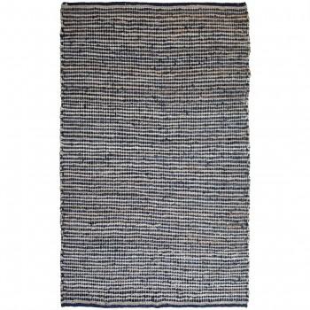 Tapis moderne en cuir & jute Street Grey (170x240cm)