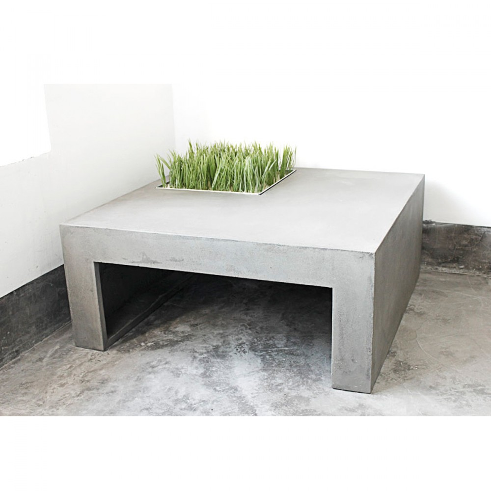Table basse beton carre for Table basse carre industriel