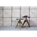 Table basse industrielle en bois et métal Disc