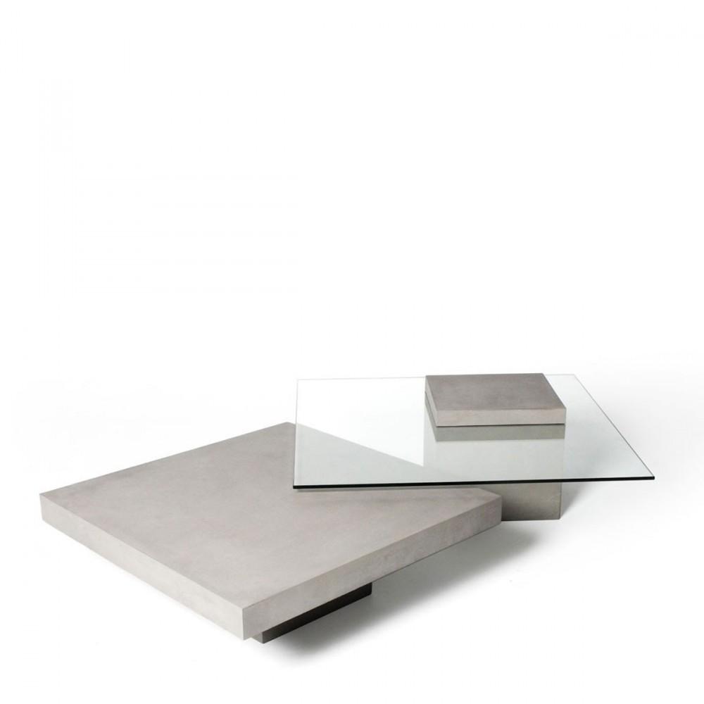 Table basse carr e en verre et b ton verveine by drawer - Table basse de couleur ...
