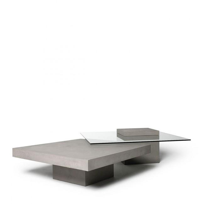 Table basse carrée béton & verre Verveine