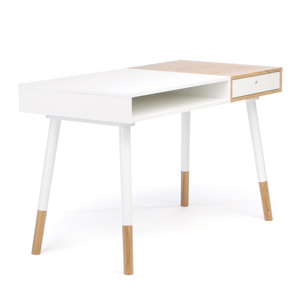 Bureau design blanc sonnenblick par for Table en bois et banc