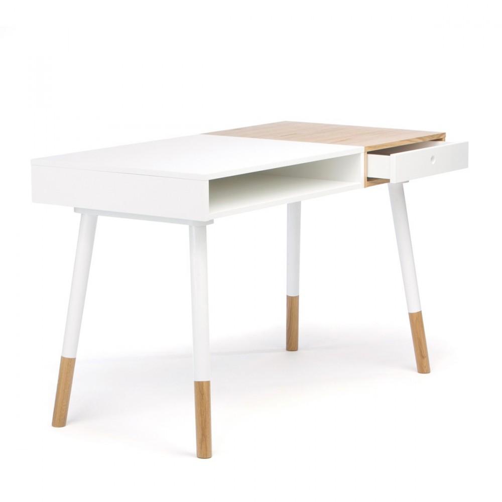 bureau design bois et blanc. Black Bedroom Furniture Sets. Home Design Ideas