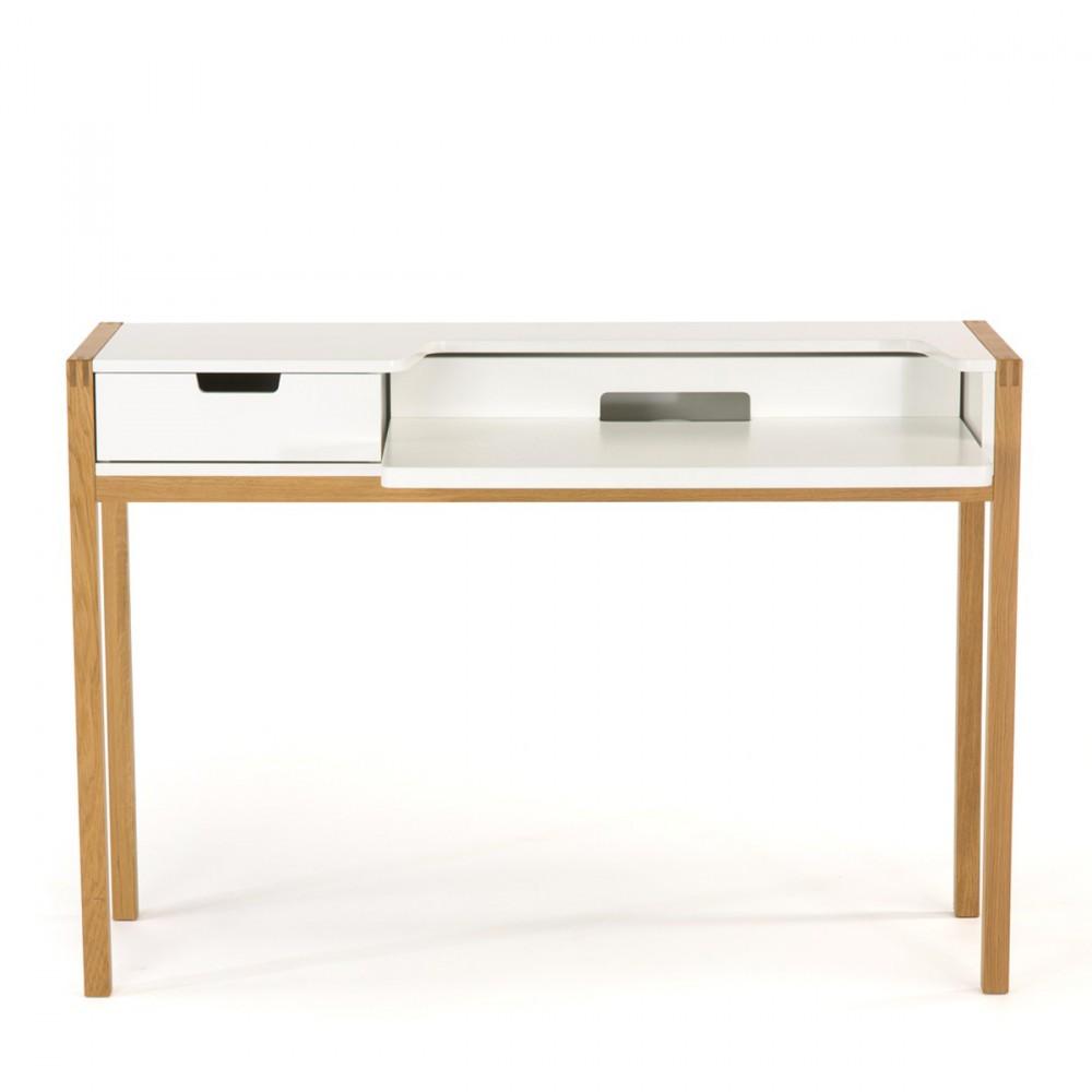 Bureau blanc et bois bureau blanc plateau bois le bureau for Plateau bureau bois blanc