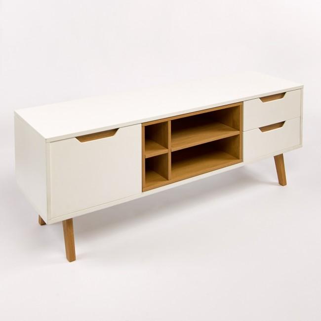 Meuble tv design 1porte 2 tiroirs et 4 niches blanc et for Meuble tv chene et blanc