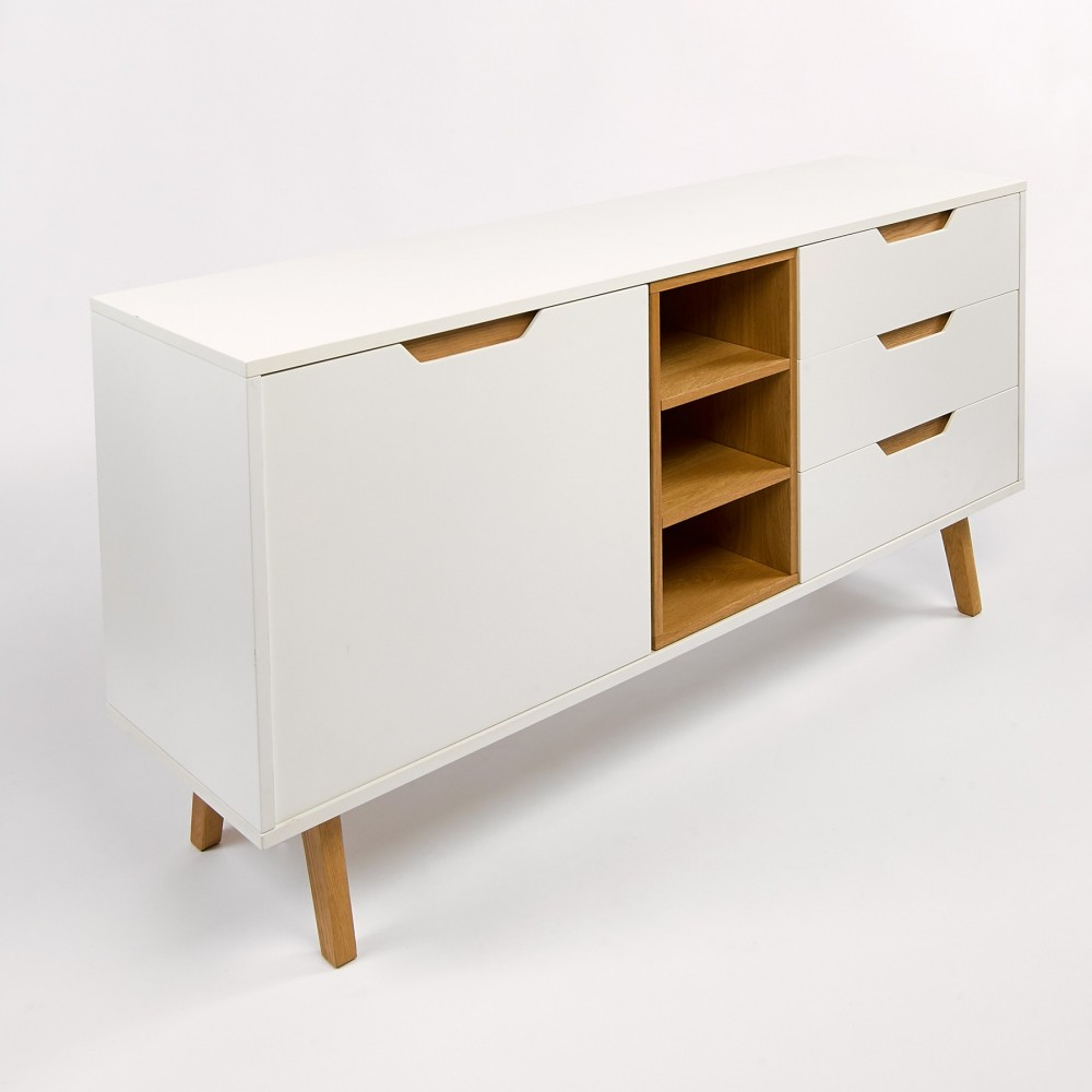 Buffet design 1 porte 3 niches 3 tiroirs blanc et ch ne sleek for Buffet salon blanc