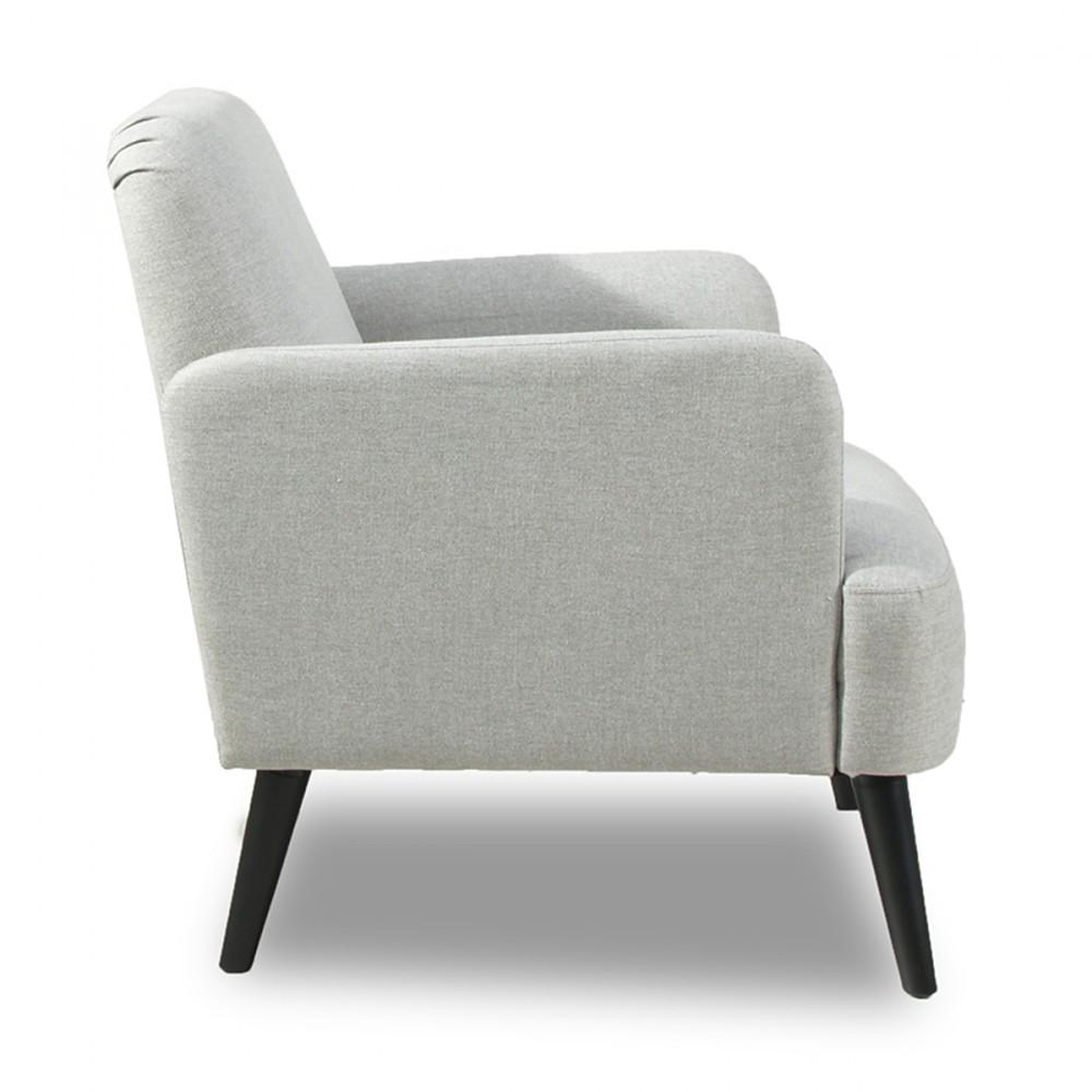 Fauteuil r tro design brooks tissu bleu gris ou rouge et pieds bois pour un look nordique et Fauteuil lecture design