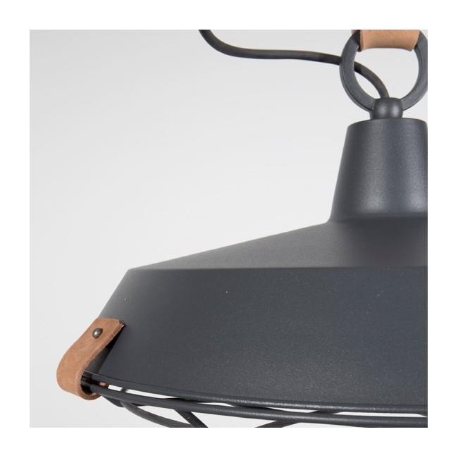 Suspension en métal laqué gris anthracite et cuir brun Dek 40