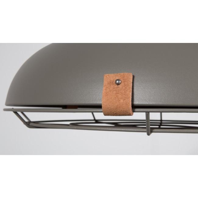 Suspension en métal laqué gris et cuir brun Dek 40