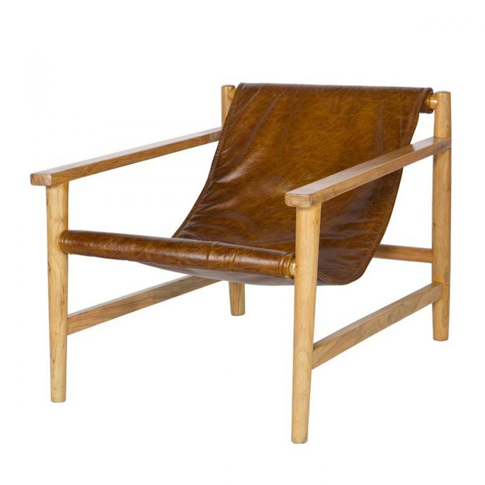 Fauteuil en bois et cuir Sling par Drawer