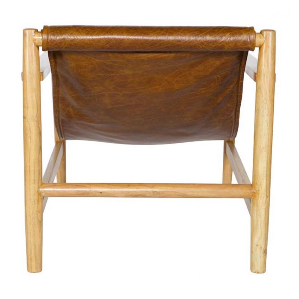 fauteuil en bois et cuir sling par. Black Bedroom Furniture Sets. Home Design Ideas