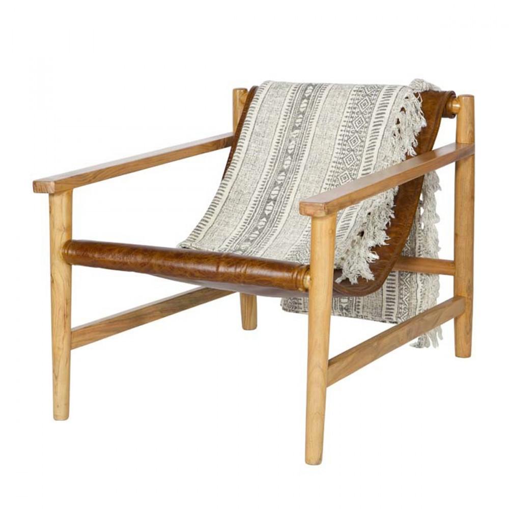 Fauteuil Bois Cuir - Fauteuil en bois et cuir Sling par Drawer fr