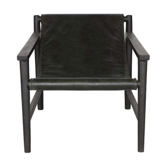 Fauteuil en bois et cuir Sling Noir