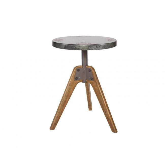 Table basse industrielle ronde bois et métal Disc