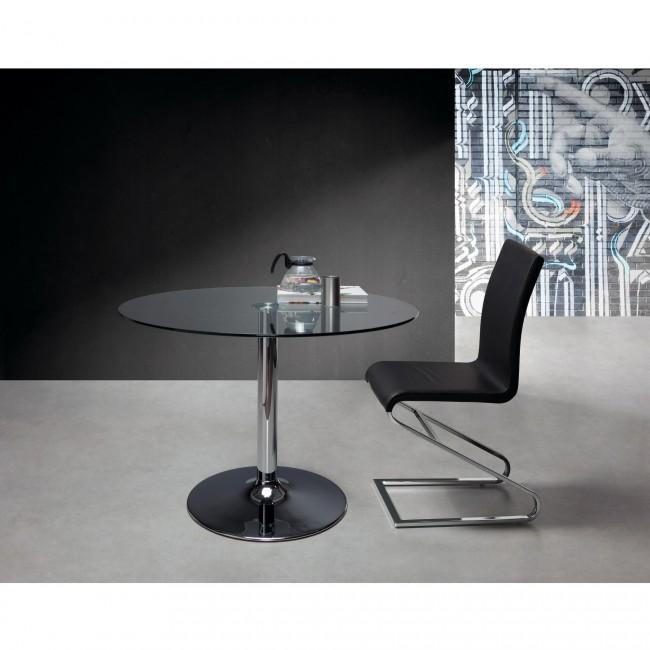 Table ronde 110 cm en verre et pied chromé Michèle