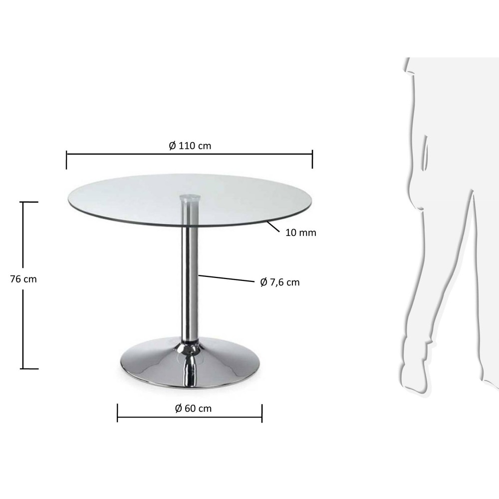 table ronde 110 cm en verre et pied chrom mich le drawer. Black Bedroom Furniture Sets. Home Design Ideas