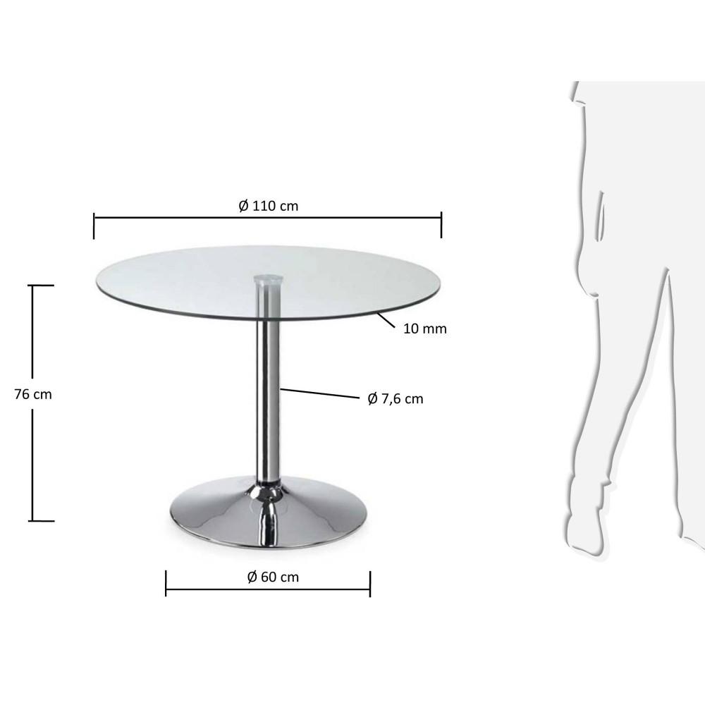 Table ronde en verre style vintage par drawer for Pied pour table en verre