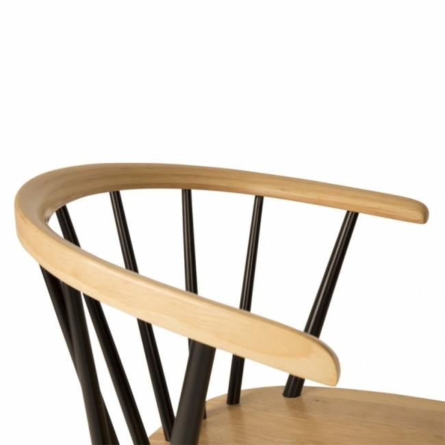 Lot de 2 chaises rétro scandinaves bois et noir Gee