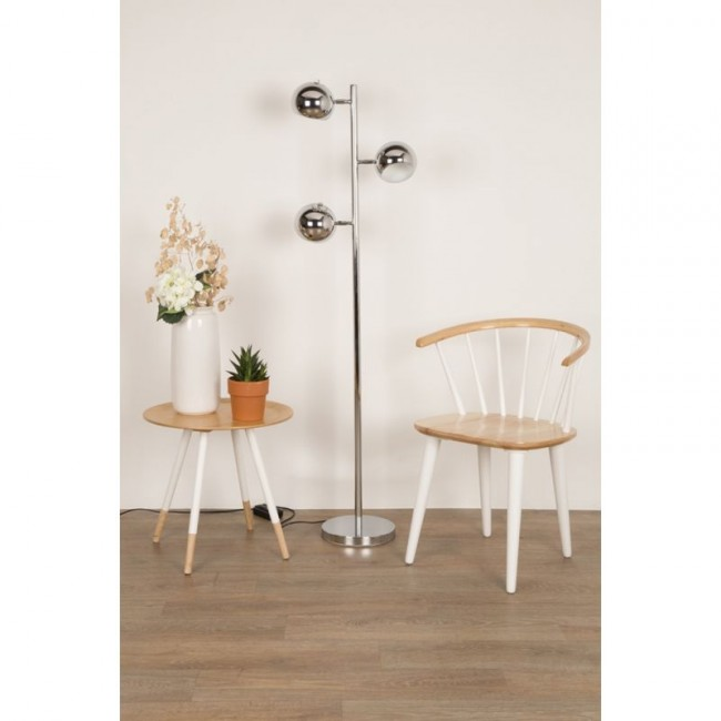 Lot de 2 chaises rétro scandinaves bois et blanc Gee
