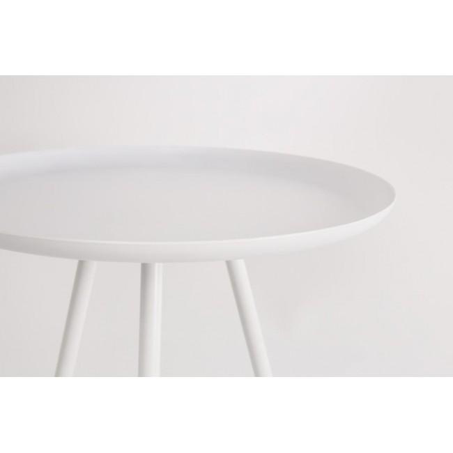 Table d'appoint en métal laqué blanc Frost