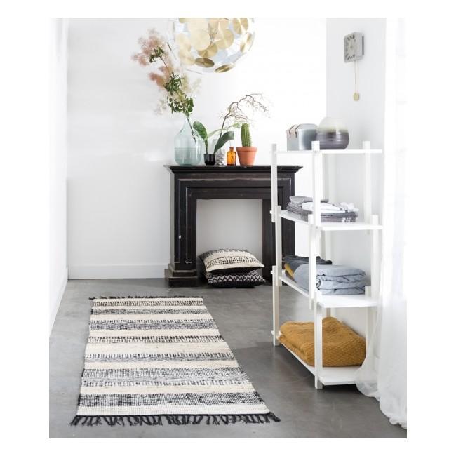 Tapis couloir vintage noir et blanc Fox