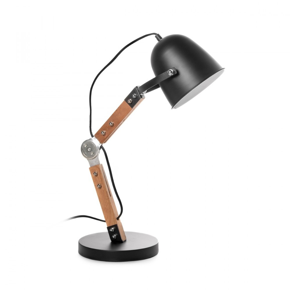 Lampe industrielle poser bois m tal branch by drawer for But lampe a poser