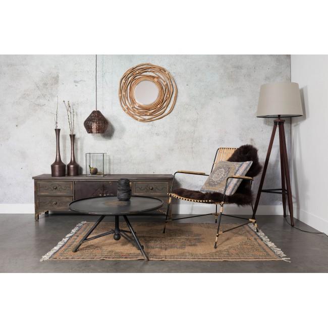 Buffet meuble TV vintage bois foncé gravé Fuz