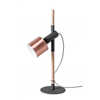 Lampe à poser bois, métal laqué noir et cuivre pole de Drawer