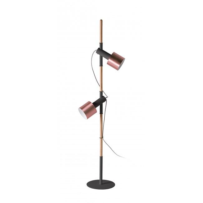 Lampadaire double bois, métal noir et cuivre Pole de Drawer