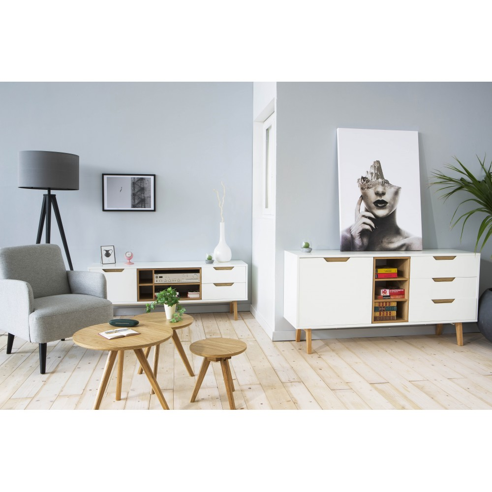 meuble tv design 1porte 2 tiroirs et 4 niches blanc et. Black Bedroom Furniture Sets. Home Design Ideas