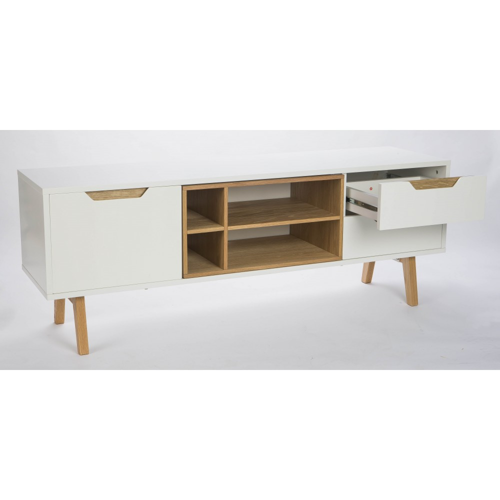 Meuble TV design 1porte, 2 tiroirs et 4 niches blanc et ...