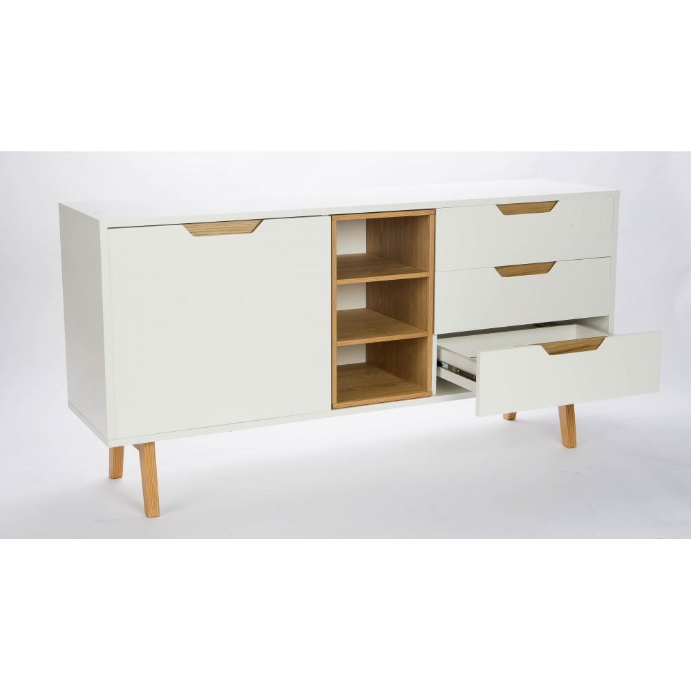Buffet design 1 porte 3 niches 3 tiroirs blanc et ch ne sleek for Buffet design
