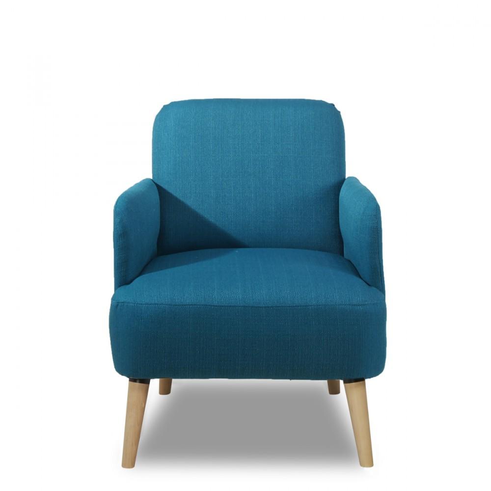 Fauteuil R Tro Design Brooks Tissu Bleu Gris Ou Rouge Et Pieds Bois Pour Un Look Nordique Et