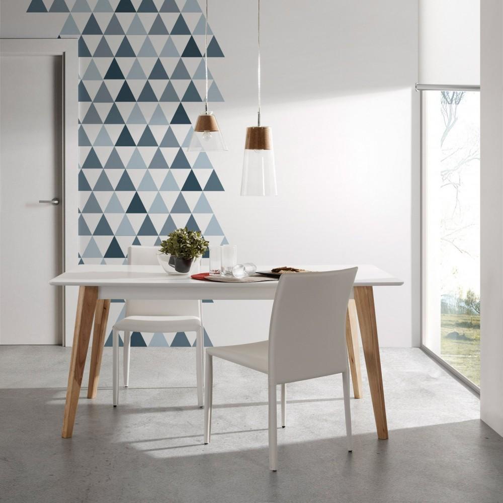 Table à manger scandinave blanche et bois Melan par Drawer