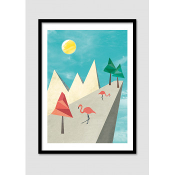 """Affiche encadrée """"Flamingo Land"""""""