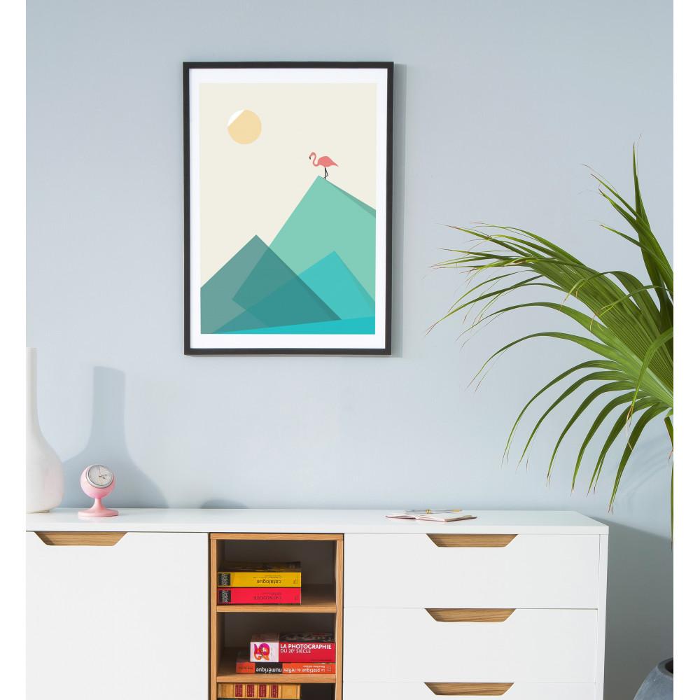 affiche encadr e flamand rose flamingo drawer. Black Bedroom Furniture Sets. Home Design Ideas