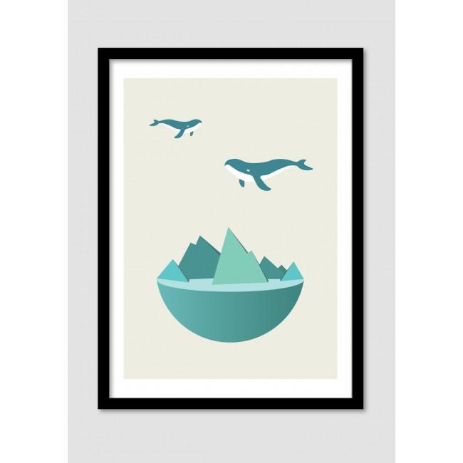 "Affiche encadrée ""Flying whales"""