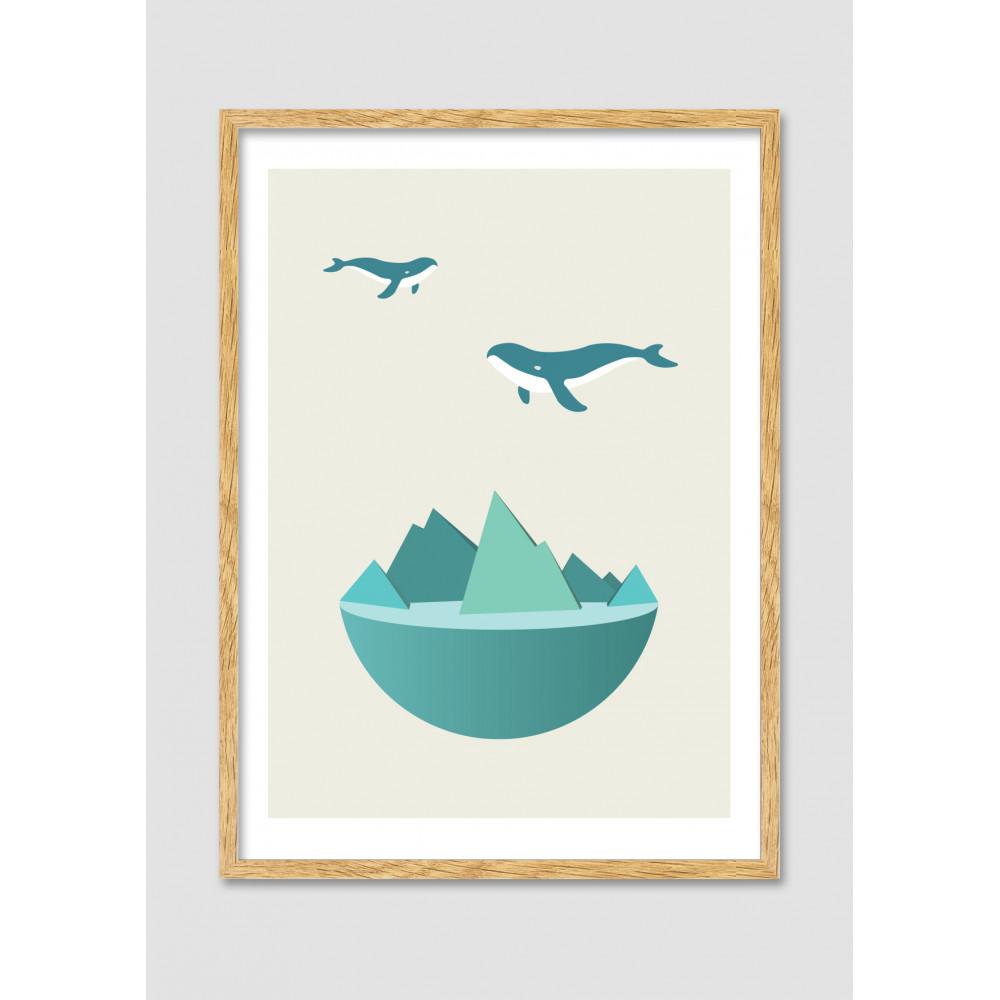 Affiche Encadr E Flying Whale Drawer