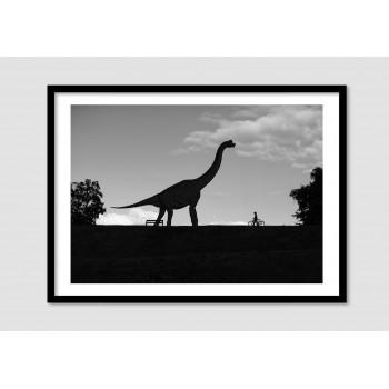 """Photomontage noir et blanc """"Jurassic square"""""""