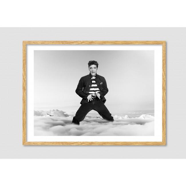 """Photomontage noir et blanc Elvis Presley """"Elvis in the clouds"""""""