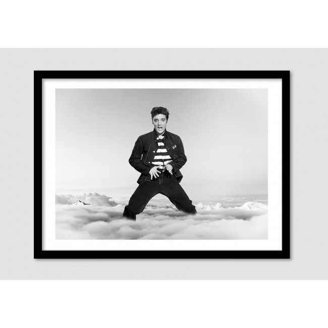 "Photomontage noir et blanc Elvis Presley ""Elvis in the clouds"""
