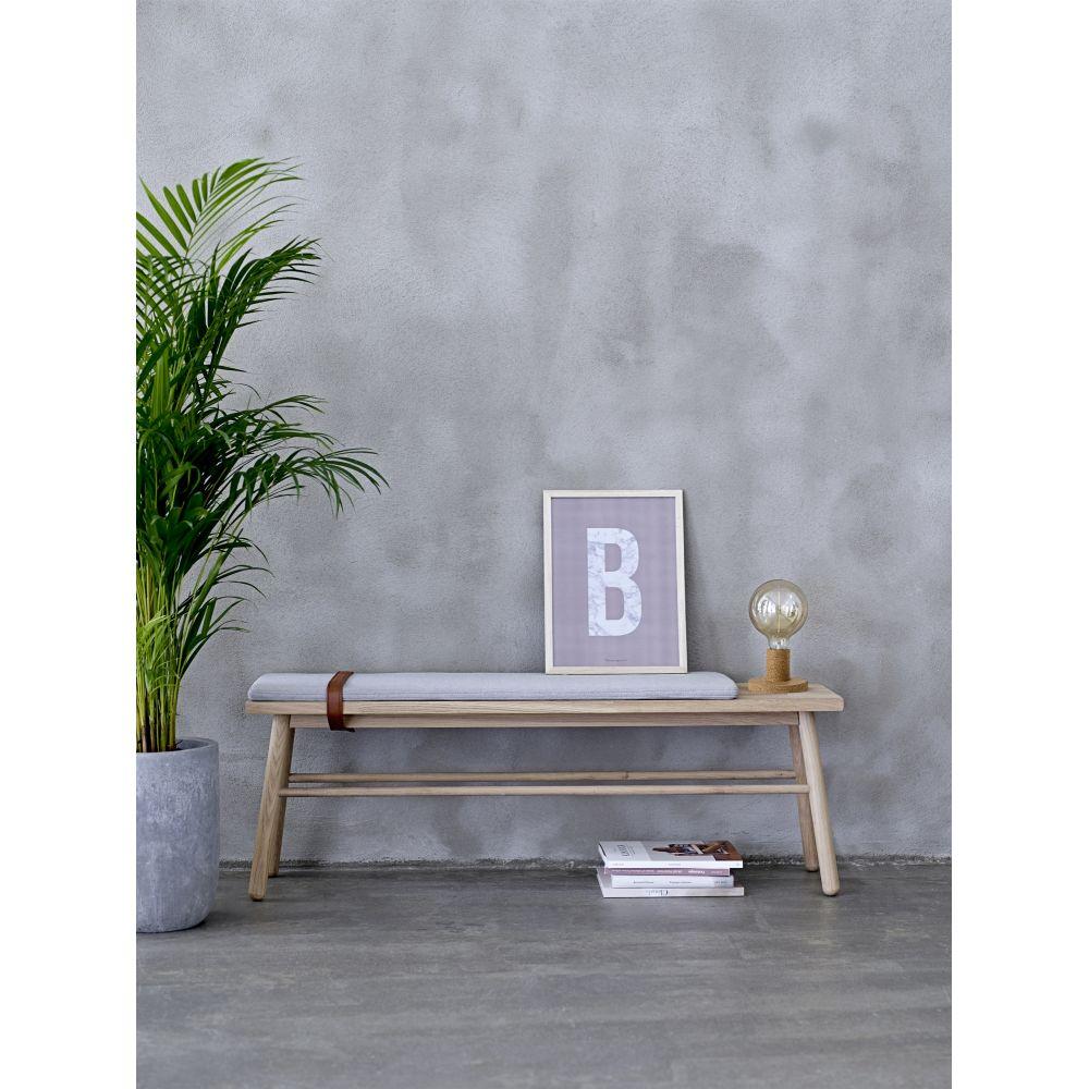 banc en ch ne et lani res de cuir straight bloomingville. Black Bedroom Furniture Sets. Home Design Ideas
