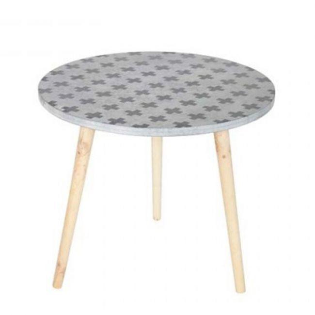 Table basse tripode imprimée grise Denn