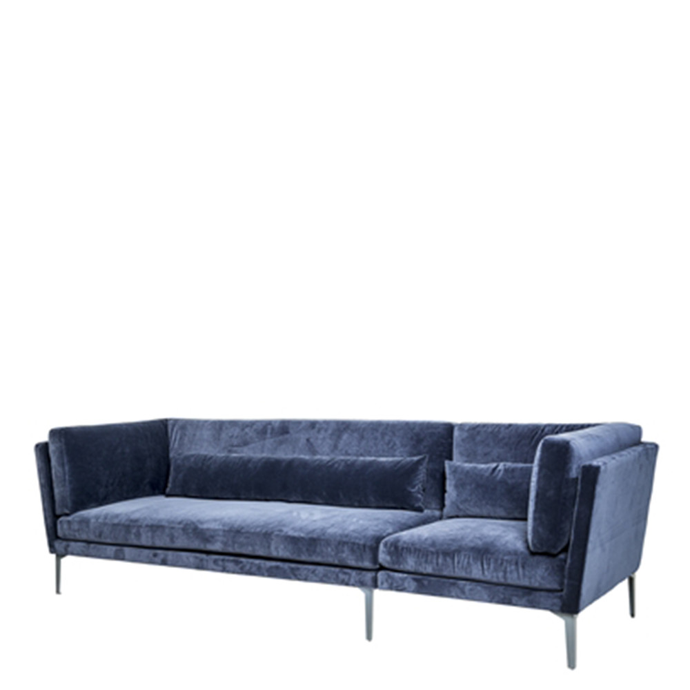 canap 3 places velours bleu rox bloomingville. Black Bedroom Furniture Sets. Home Design Ideas