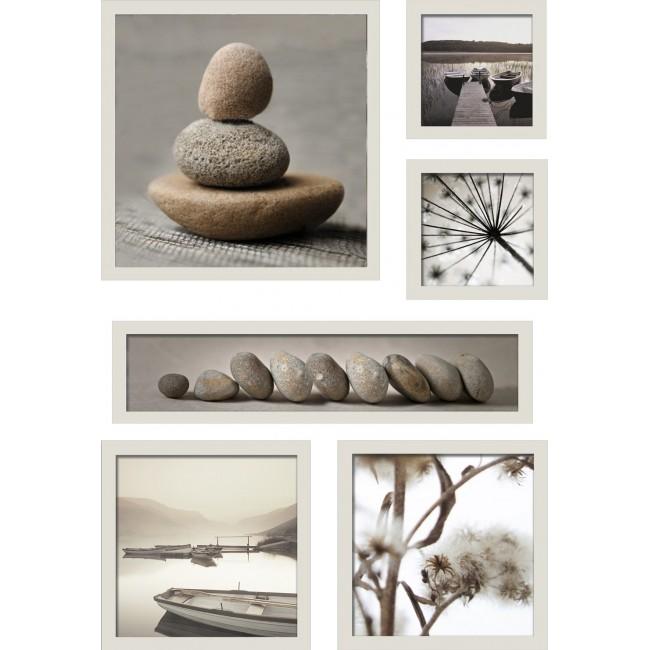 Set de 6 images encadrées - Galets