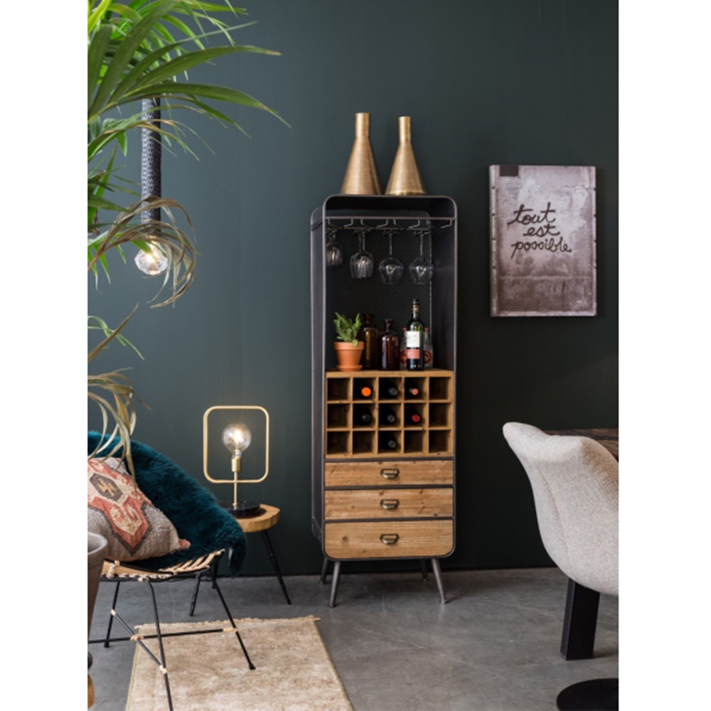 armoire bar vins m tal et bois vino dutchbone drawer. Black Bedroom Furniture Sets. Home Design Ideas