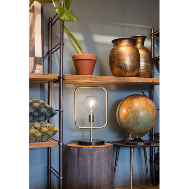 Lampe à poser industriel métal et marbre Cubo Dutchbone